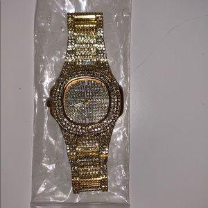 Men's fake diamond stainless steel watch